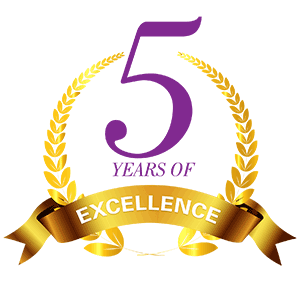 Five years of excellence logo