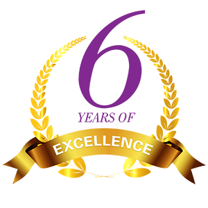 Six years of excellence logo
